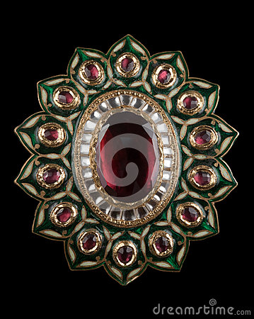 Close up of ruby  pendant or brooch