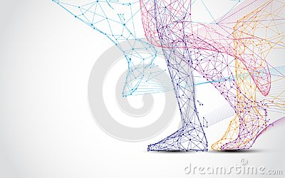 Close up of runner s legs run form lines and triangles, point connecting network on blue background. Vector Illustration
