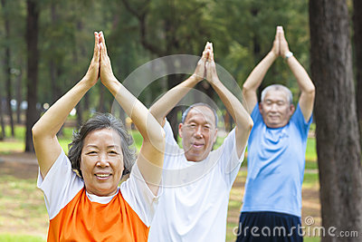 Close-up of seniors doing gymnastics in the park
