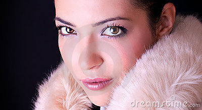 Close up sensual portrait of young beautiful woman