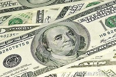 Close-up shot of $100 bills