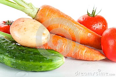 Close-up shot of fresh wet vegetables
