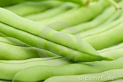 Close-up shot of green bean pods