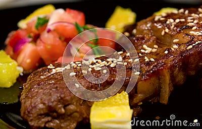 Close-up shot of ribeye steak