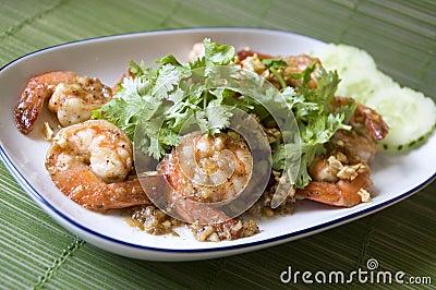 Close up shrimp with garlic