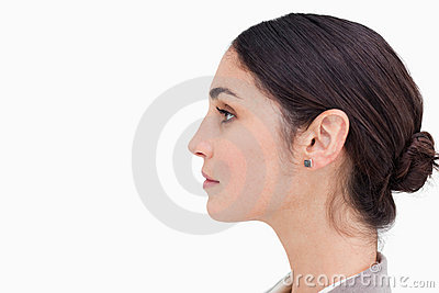 Close up side view of young businesswoman