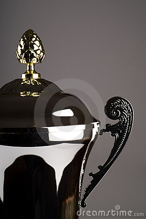 Close up of silver trophy