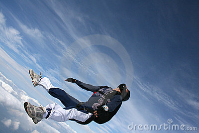 Close-up of Skydiver on his back in freefall