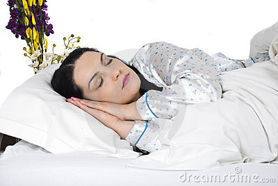 Close up sleeping woman face