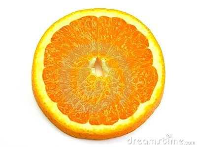 A close up slice of orange