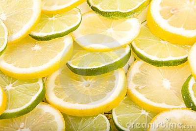 Close up of Sliced Lemons and Limes