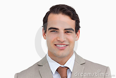 Close up of smiling salesman