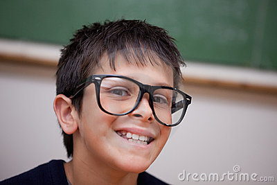 Close up of a smiling schoolboy