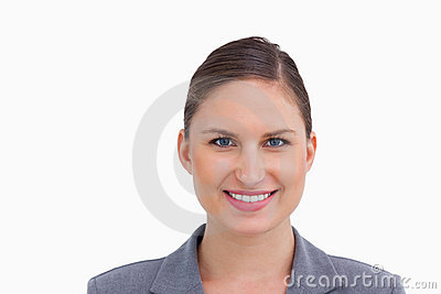 Close up of smiling tradeswoman