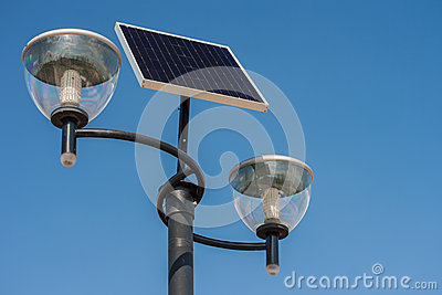 Close-up on a solar powered street lights