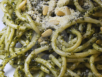 Close up of Spaghetti Pesto