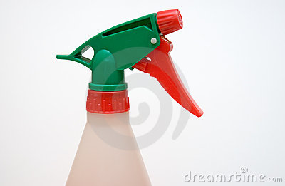 Close up of spray bottle head and nozzle