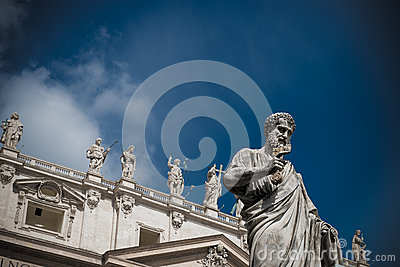 Close-up of St Peters Basilica facade