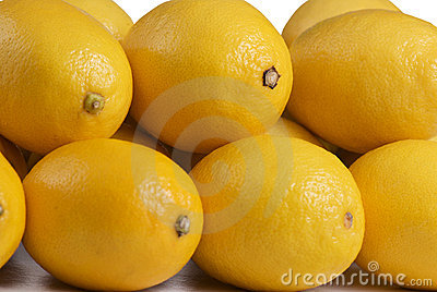 Close up of a stack of lemons