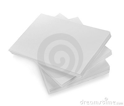 Close up of stack of papers with curl