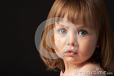Close Up Studio Portrait Of Sad Young Girl