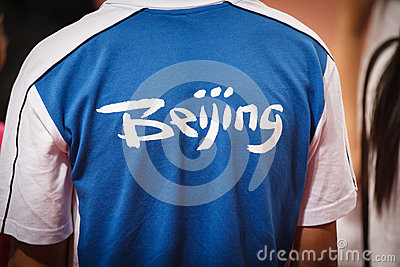 Close-up of T-shirt with Beijing Summer Games Logo Editorial Photo