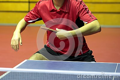 Close up of a table tennis player