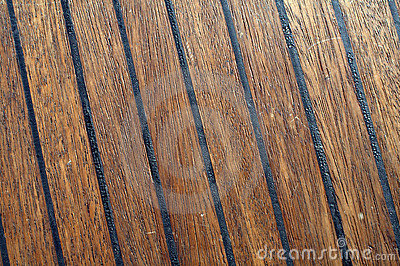 Close-up of teak boat deck