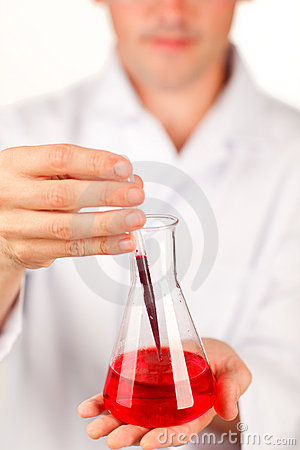 Close-up of a test-tube with blood