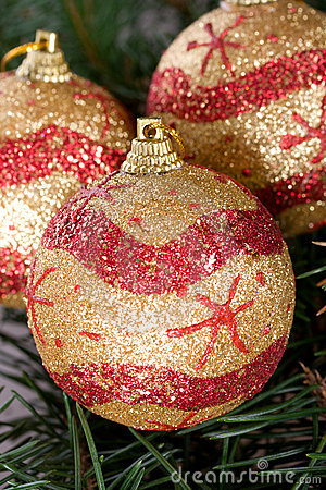 Close-up three christmas balls
