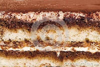 Close up tiramisu cake making a background