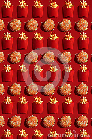 Free Close Up To French Fries And Burgers, High Calorie Junk Food, Background Royalty Free Stock Photography - 94030397