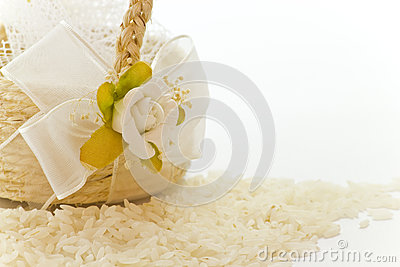 Close up to the little basket of rice for wedding