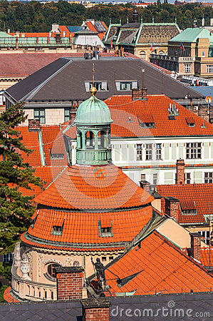 Close up at top roof of church, Prague