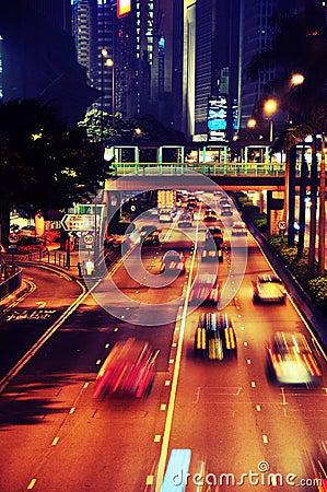 Close up traffic in Hong Kong