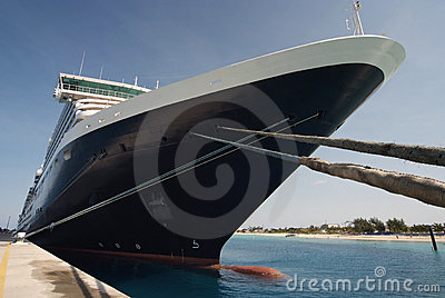 Close up of a transatlantic passenger cruise ship
