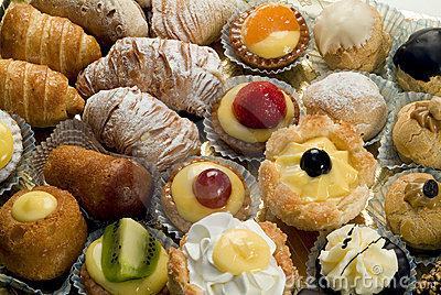 Close up of tray of mixed patisserie