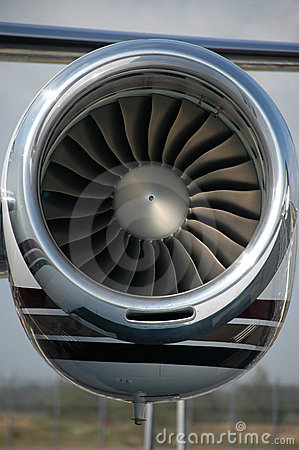 Close up of a turbo fan engine