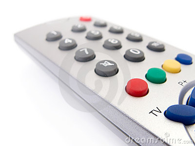 Close up of a TV remote control