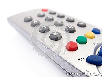 Close up of a TV remote control