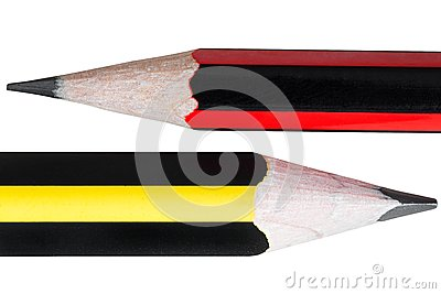 Close up of two pencils isolated on white