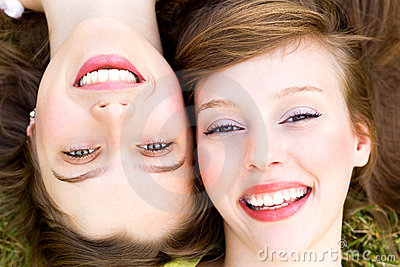 Close up of two women smiling