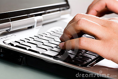 Close-up of typing hands