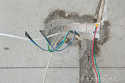 Close up of a unfinished electric cable socket