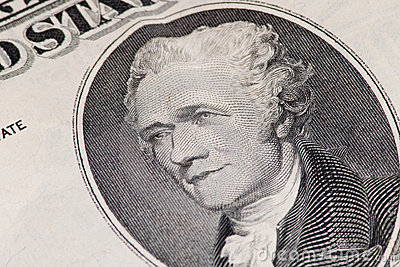 Close-up of US Ten Dollar Note