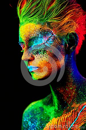 Free Close Up UV Portrait Royalty Free Stock Images - 124319049