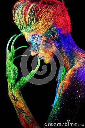 Free Close Up UV Portrait Stock Image - 68463261