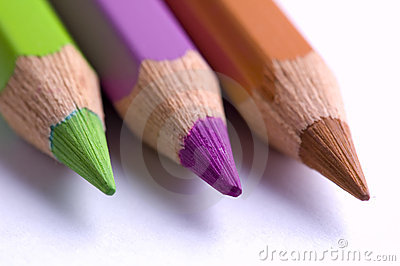 Close-up van 3 kleurpotloden