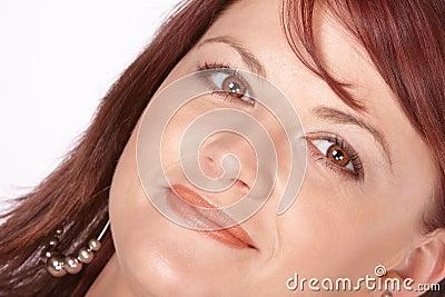 Close-up van rode hoofd rode lippen