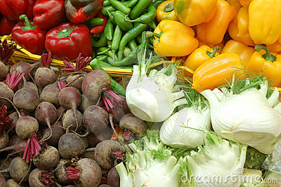 Close up of vegetables on market stand